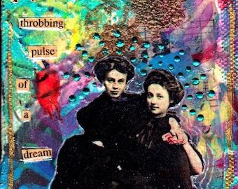 Mixed Media Collage Art Original PULSE 3x3 Mixed Media Canvas