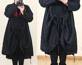 Long Casual Oversized Black Hanky Hem Wrap Jacket Coat Plus Size M L XL 1X Lagenlook Linen Tunic