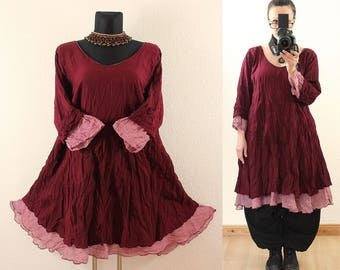 Wein Red FLOATY Fairy Long Tunic DRESS Plus Size 22 24 26 3X 4X Gothic Vintage Lagenlook Baggy Linen Cotton Spring Summer
