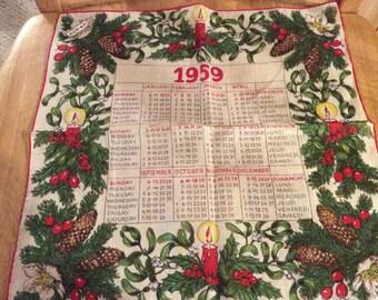 1959 Kreier Handkerchief Hankie Calendar Christmas Theme Outstanding Condition with Tag H1