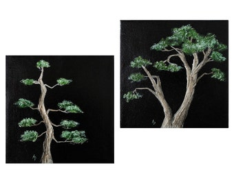 Rustic Bonsai tree art - tiny tree bonsai painting - minimalist Japanese decor - eastern art - meditation art - good luck housewarming gift
