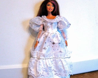 ON SALE Barbie Clothes White Dress with Silver Star Pattern