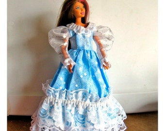 ON SALE Barbie Dress Blue and White with Star Pattern