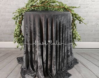 "READY TO SHIP Velvet Tablecloth Gray Grey Silver Velour Linen Weddings Bridal Shower Birthday Party 120"" Round"