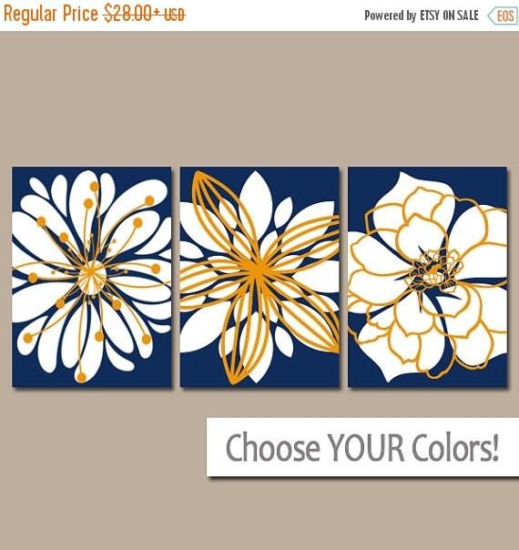NAVY ORANGE Wall Art Canvas Or Prints Orange Blue By TRMdesign