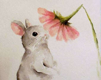 Bunny Rabbit painting original watercolor Nursery spring Easter animal art Daphne and the Daisy
