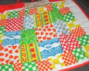 Vintage MOD 60s Orange Patchwork Motif Cotton Kitchen Terries Terry Cloth Towel Apron with Tag