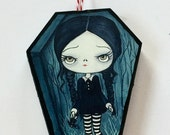 Wednesday Addams Ornament Wooden Handmade coffin Tree Decoration
