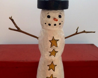 Hand Carved Snowman Wood Turning, Primitive Snowman, Folk Art Wood Carvings