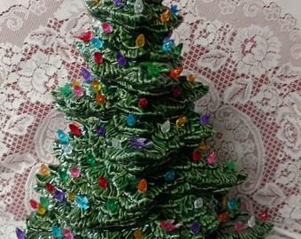 "18"" Tampa Bay Lighted Ceramic Christmas Tree Green"