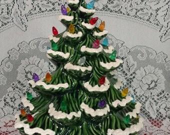 "15"" Atlantic Lighted Ceramic Christmas Tree Green - Flocked"