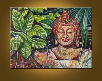 Buddha Garden V -- 18 x 24 inch Original Oil Painting by Elizabeth Graf on Etsy -- Art Painting, Art & Collectibles