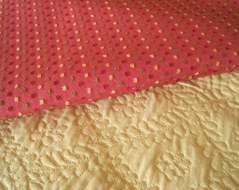 Home Decor Fabric Coral with Chenille Tufts in Gold Rose Green 2 Yards