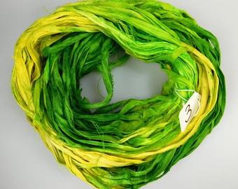 Silk Sari Ribbon, Sari Ribbon, Green sari ribbon, green ribbon, Green silk Sari Ribbon, yellow sari ribbon, weaving supply, knitting supply