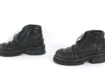 size 6.5 CHUNKY black leather 80s 90s COMBAT PLATFORM lace up ankle boots