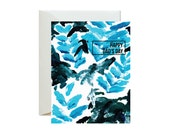 HAPPY DAD'S DAY Blue/Black Abstract Foliage Greeting Card / Father's Day