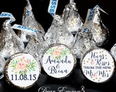 108 Hershey Kiss® Stickers - Wedding Shower Favors, Gold Confetti and Watercolor Flower Bouquet Stickers, Hershey® candy favors Wedding