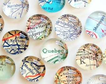 Vintage Map Magnets - Set of 4 -you pick the locations-  Perfect customized, personalized gift - guy gift - travel - souvenir