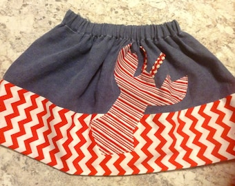 MAINE LOBSTER girls blue linen red chevron skirt Size 3T ready to ship