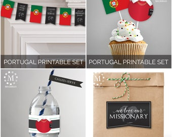 INSTANT DOWNLOAD - PORTUGAL -  Missionary Farewell Welcome Home Decoration Printable Set for Sisters