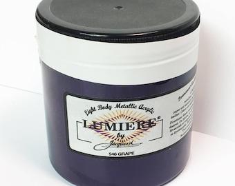 Lumiere Grape 546 - 8 oz Size - Brilliant Light Body Metallic Acrylic Paint - Art Craft Fabric Canvas Wood Paper Pearl Finish