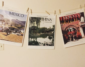 Vintage school Country posters  1970s China Morocco Mexico