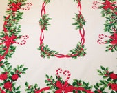 Vintage Christmas Tablecloth Cotton Candy Canes Holly Ribbons 72X60 Cottage Kitchen Shabby Chic Kitchen
