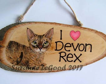 Hand painted DEVON REX CAT painting wooden tree slice sign by Suzanne Le Good