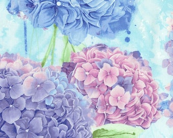 Harmony Hydrangea Sky - Chong-a Hwang  -Timeless Treasures--Blue and Lavender- 100% Cotton Fabric-By the  half yard.