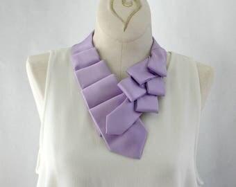 Statement Necklace - Necktie Necklace - Womens Necktie - Gift For Wife - Upcycled Tie - Necktie Scarf - Work Wear - Plain Lilac Tie. 31