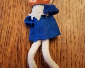 Cute Little Vintage Blue Christmas Elf  Pixie