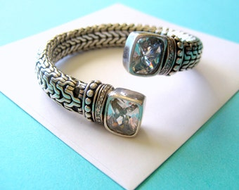 Sterling Silver Coil Bracelet with Crystal End Caps