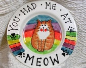 Rainbow 6 Inch Cat Plate Handmade In Clay by Grace M Smith Pet Food Dish