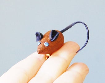 EEK... A Mouse Pin,  Vintage 1960s Wood, Blue Rhinestone Eyes, Teak Brooch with Leather Ears and Tail