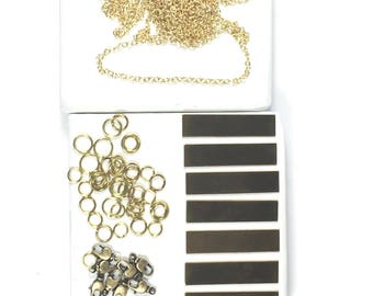 Bar necklace kit,  Diy necklaces kit, Diy bracelets kit, new gold jewelry kit, USA made chain, Quality components