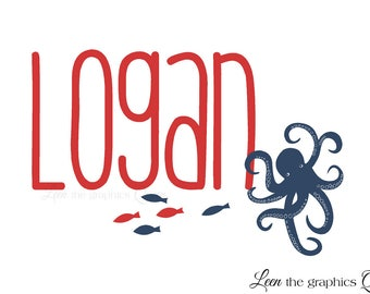 Surfer Name Vinyl Wall Decal with Octopus and Fish • Personalized Name • Sea Animals Wall Sticker • Nautical Nursery Boys Room Beach Decor