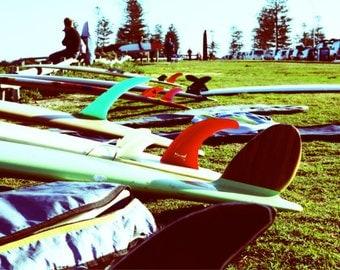 "Cottesloe, Western Australia: Colourful longboard fin, beach art print, A4 8x10"" retro red & green"