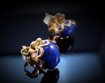 14k Gold Fill Lapis Lazuli Post Earrings