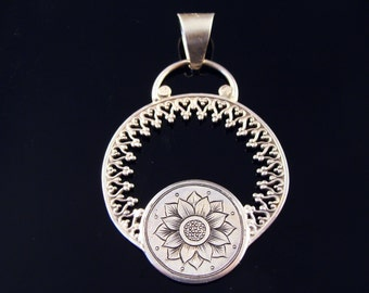 Art Nouveau Inspired Hand Engraved Sterling Silver Pendant