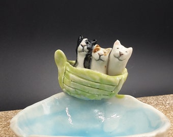 one two three cats on a boat - trinket bowl porcelain original