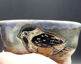 chickadee bird tea bowl