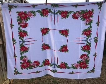 Vintage Red and White Poinsettias Christmas Print Holiday Tablecloth