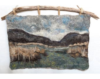 Felted Wool Painting of a River Marsh