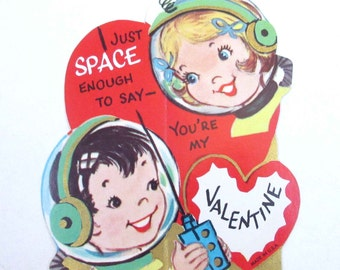 Vintage Unused Children's Novelty Valentine Card with Space Boy and Girl Astronauts Walkie Talkie Space Travel