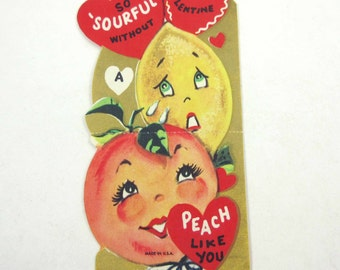 Vintage Children's Novelty Valentine Greeting Card with Adorable Anthropomorphic Peach and Sour Crying Lemon