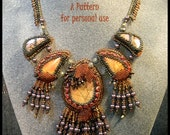 NEWLY RELEASED - Bead Pattern Autumn Leaves Fan Necklace peyote and bead embroidery beaded neckpiece tutorial instructions by Hannah Rosner