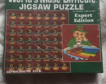 """Vintage Puzzle (1987) """"Leprechauns Luck"""" World's Most Difficult Jigsaw Puzzle by Buffalo Games (NEW FACTORY SEALED) Irish Icon"""