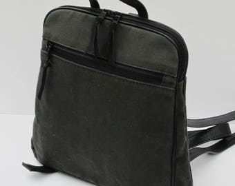 WAXED CANVAS BACKPACK  Charcoal Gray with Black Leather