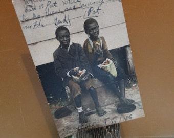 Vintage 1916 Black Americana Post Card Photograph, Twin Black Boys Tad & Pat, Twins Daytona Florida, Watermelon. African American. Card