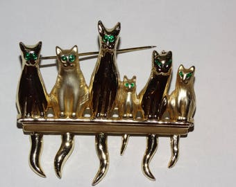 1980's Rhinestone Green Eyed Cats on a Fence Kitten, Cat, Feline Brooch, Cat Pin, Meow, Kitty Kat Jewelry